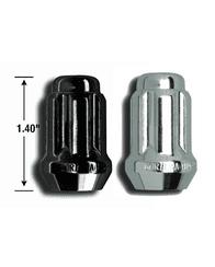 "CHROME OR BLACK CHROME SMALL DIAMETER SPLINE DRIVE DUPLEX LUG NUTS 14MM X 1.5 (1.4"" TALL) FOR 2015+ COLORADO/CANYON, 2007+ TUNDRA (VARIOUS QUANTITIES)"