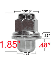 """CHROME TOYOTA FACTORY STYLE LUG NUT, 12MMX1.5, 1.85"""" OVERALL LENGTH (various quantities)"""